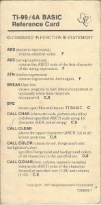 TI 99 Card